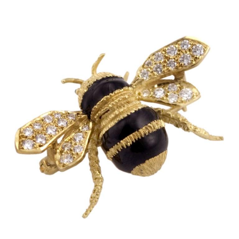 Bumble Bee 18k Gold Diamond Superb Bee Brooch Pin At 1stdibs