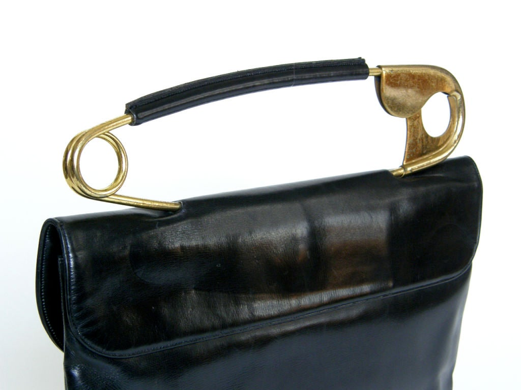 Koret Leather Handbag with Safety Pin Handle 3