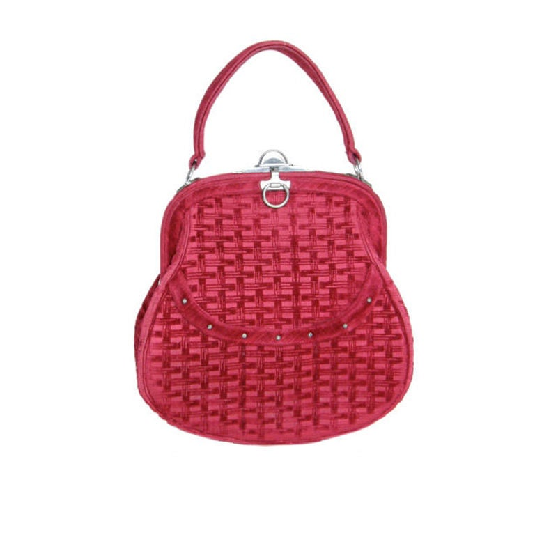Roberta di Camerino Basket Weave Patterned Velvet Handbag