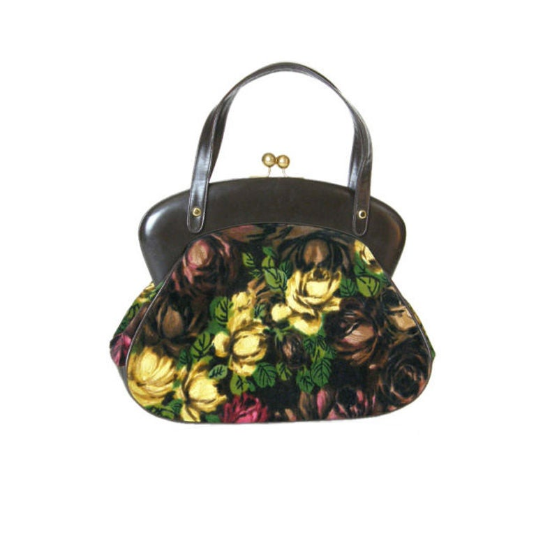 Rosenfeld Brown Leather and Floral Velvet Handbag