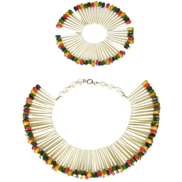 Martha Sleeper Matchsticks Necklace and Bracelet Set For Sale