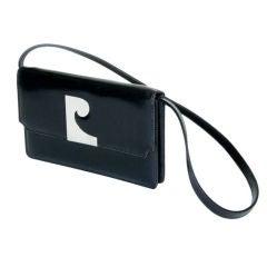 Pierre Cardin Black Leather Clutch or Shoulder Bag