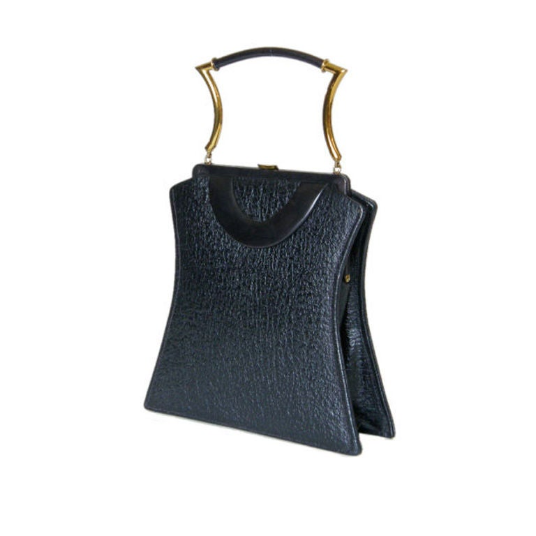 Shapely Textured Leather Handbag by Holiday 1