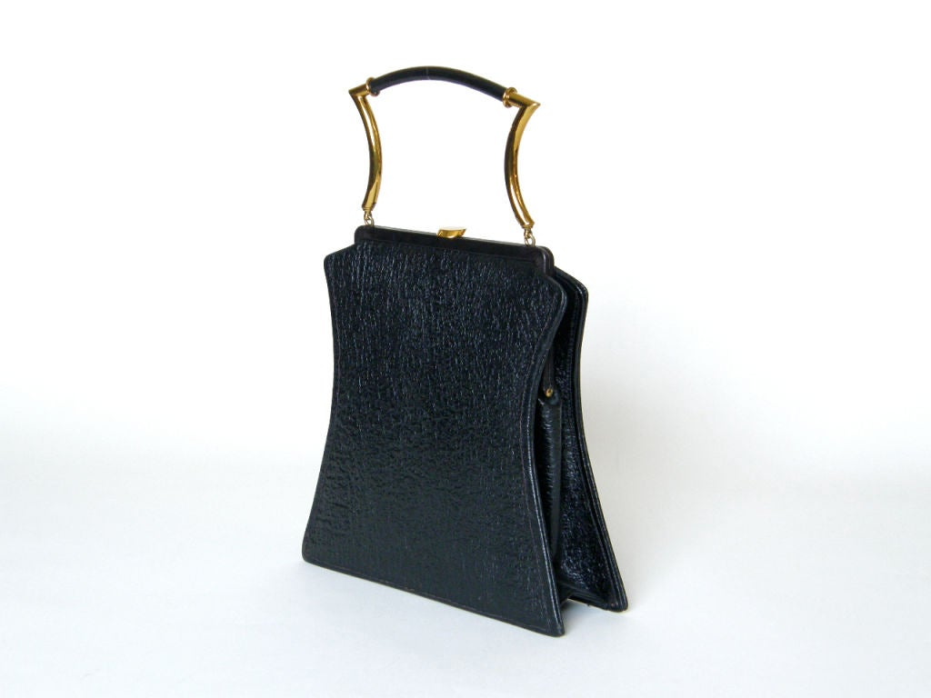 Shapely Textured Leather Handbag by Holiday 2