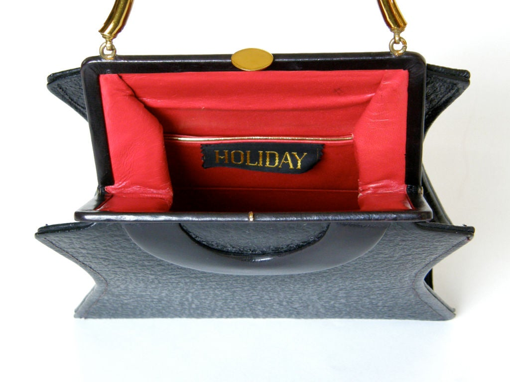 Shapely Textured Leather Handbag by Holiday 4