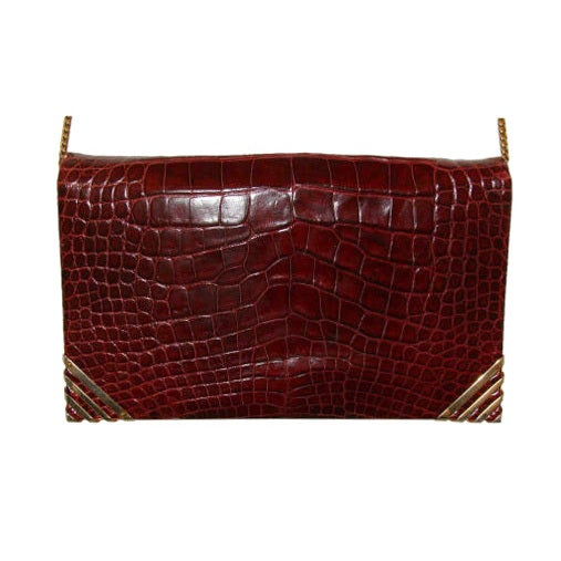 Rouge  Alligator  Shoulder Bag - Judith Leiber for Bonwit Teller
