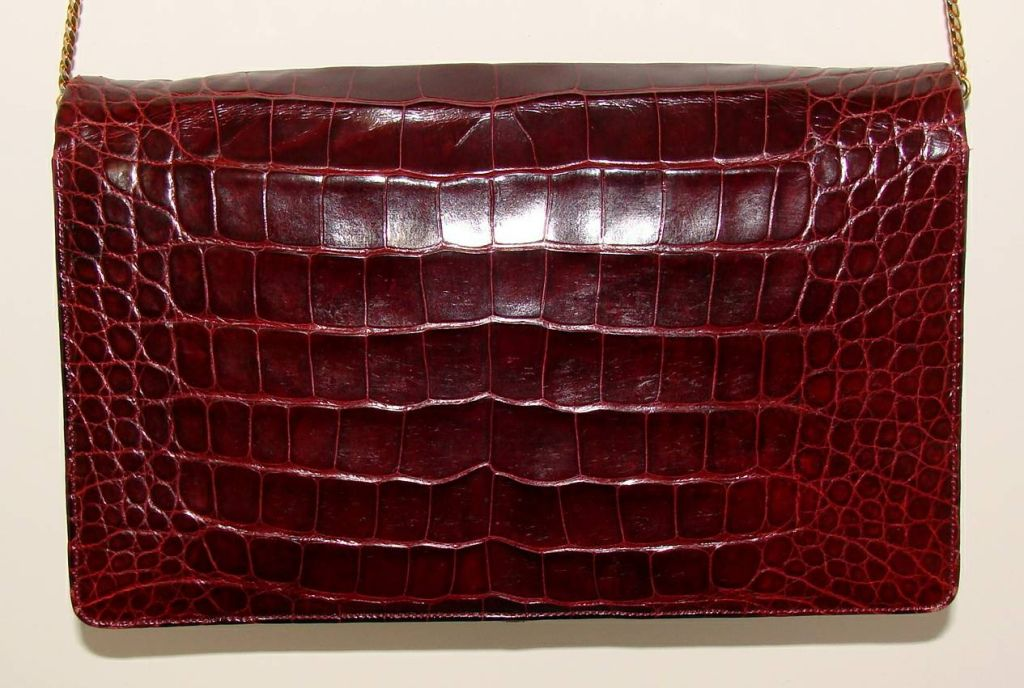 Beautiful center skin alligator bag with leather interior by Judith Leiber for Bonwit Teller.