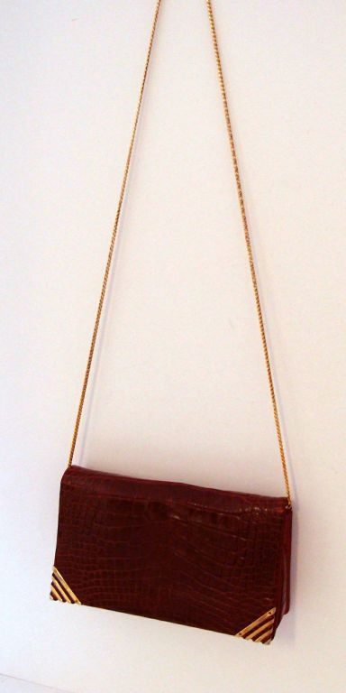Rouge  Alligator  Shoulder Bag - Judith Leiber for Bonwit Teller For Sale 2