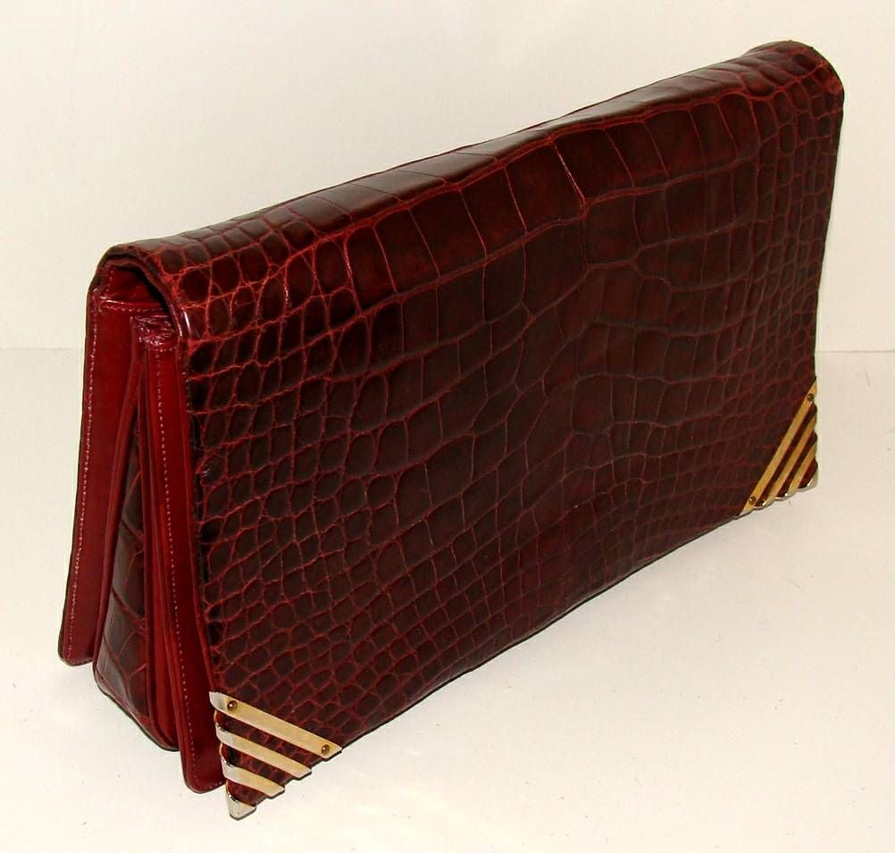 Women's Rouge  Alligator  Shoulder Bag - Judith Leiber for Bonwit Teller For Sale