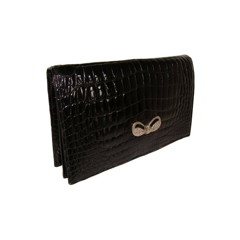 Crocodile Evening Bag Clutch by Lucille de Paris