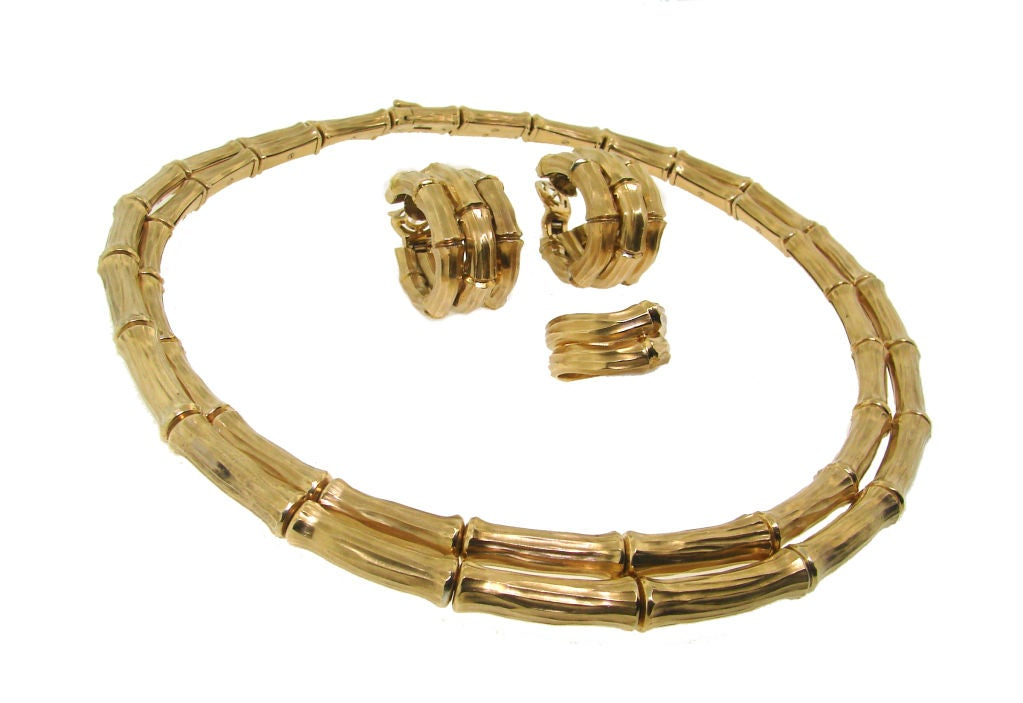 Cartier 18k Yellow Gold Bamboo Set Necklace Ring And