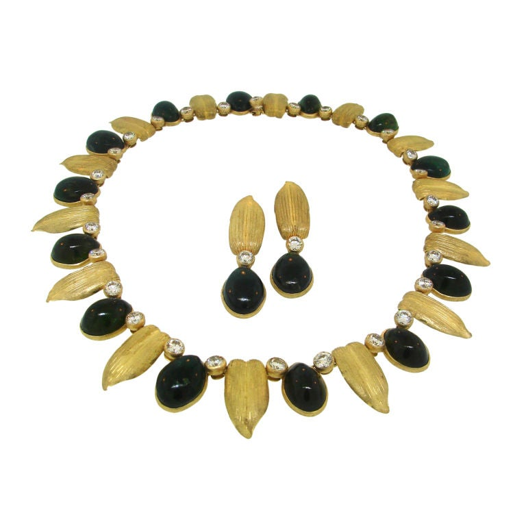 Buccellati Diamond, Green Tourmaline Gold  Necklace & Earrings