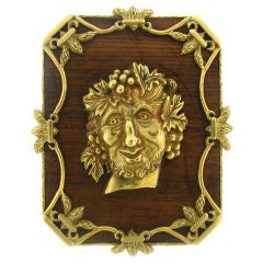 Unusual Yellow Gold & Wood Pin/Pendant with Bacchus Head