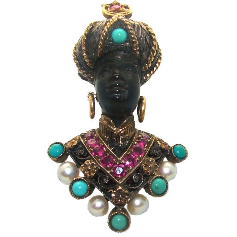 Amazing Gem Encrusted Blackamoor Pin by G. Nardi