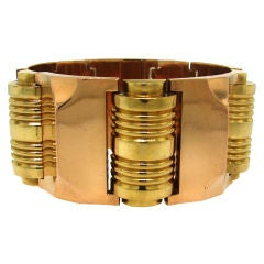 Wide and Bold Two-tone 18k Gold Retro Bracelet