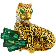 Cartier Green Tourmaline, Diamond, Enamel & Gold Panther Brooch