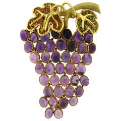 Colorful Amethyst, Tourmaline& Yellow Gold Grape Bunch by Demner