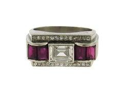 Art Deco Diamond Ruby Platinum Ring Band French
