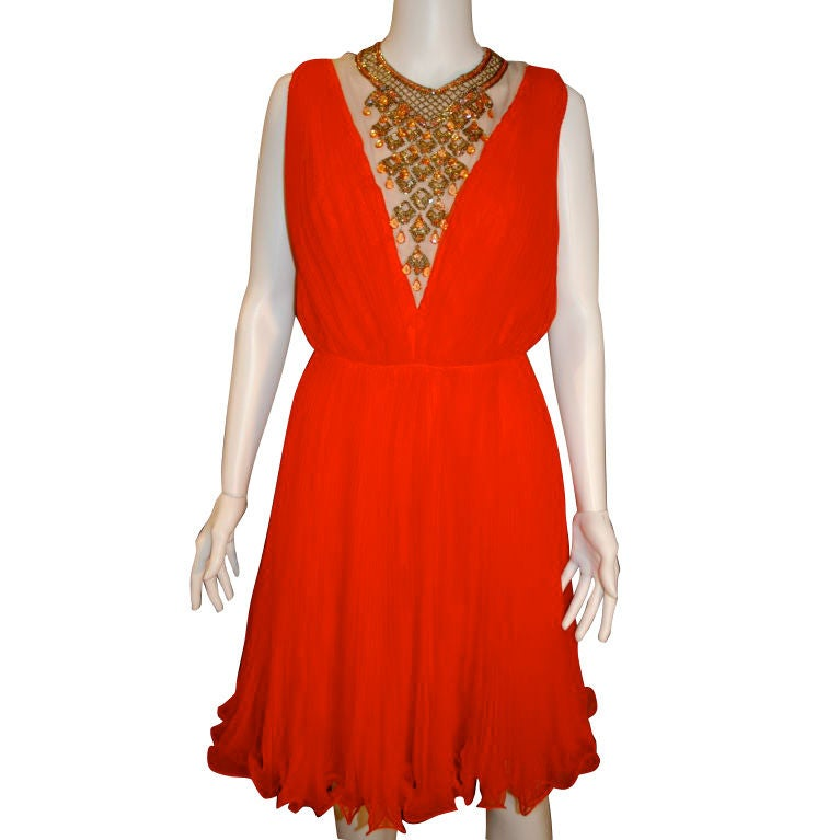 Bright Red Orange Pleated Chiffon Beaded Party Dress At