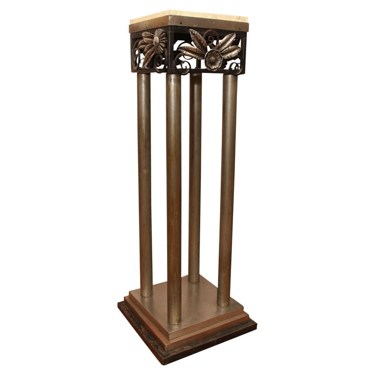 Art Deco Steel and Wrought Iron Pedestal For Sale
