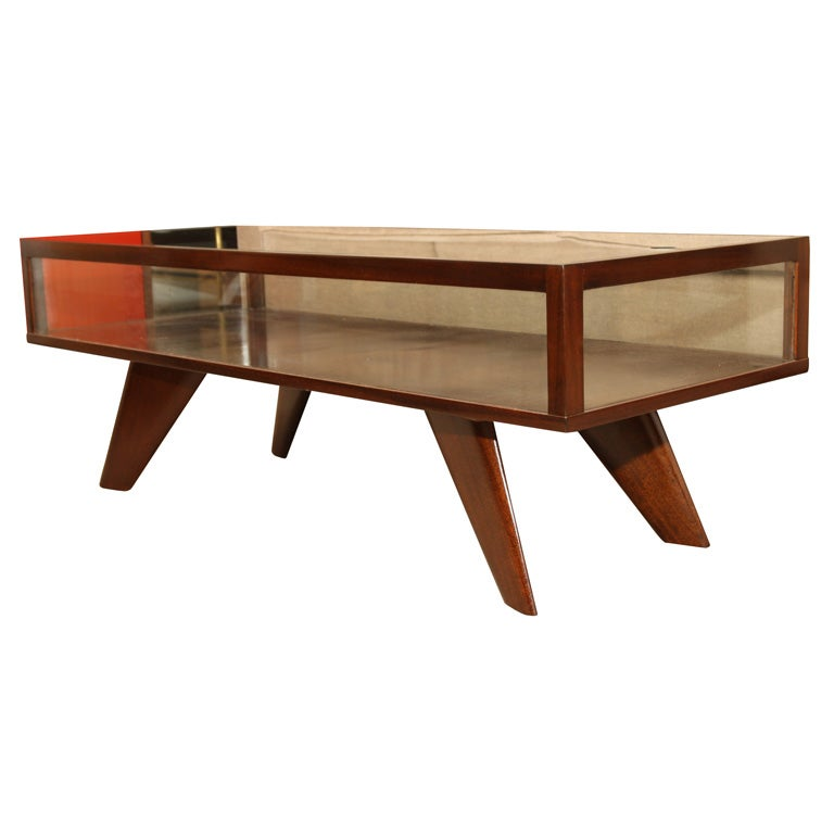 Vladimir Kagan Walnut And Glass Vitrine Coffee Table