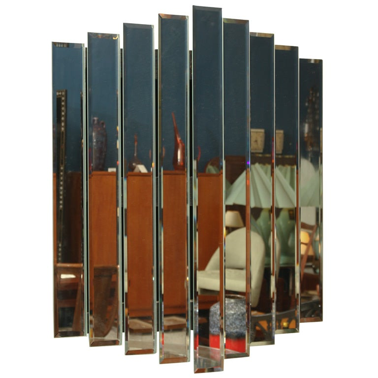 Stacked Art Deco Inspired Step Panel Mirror For Sale At