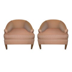 Pair of Low Club Chairs with Throw Pillows