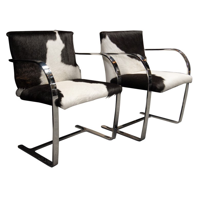 Cowhide Barstools Vintage Black White Hairhide Leather Bar: STUNNING PAIR OF BLACK AND WHITE COWHIDE BRNO CHAIRS At