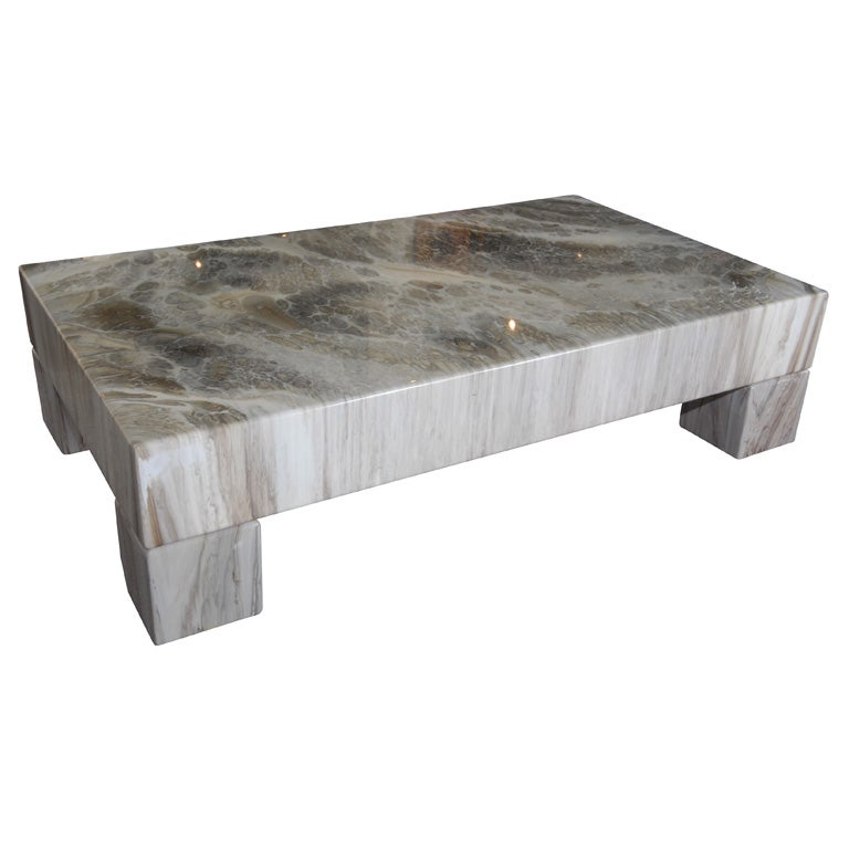 Poly Lacquered Italian Faux Marble Coffee Table At 1stdibs