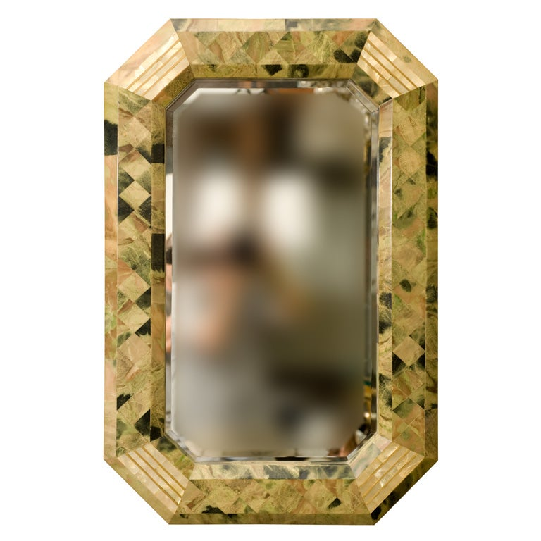 Octagonal beveled mirror attributed to maitland smith at for Octagon beveled mirror