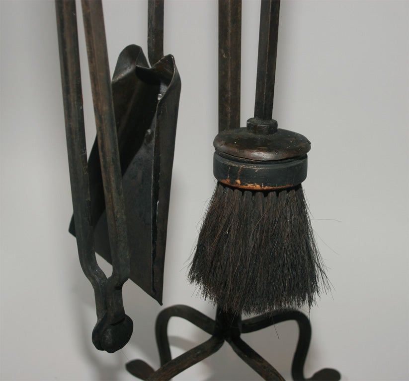 Simple Hand Forged Fireplace Tool Set At 1stdibs