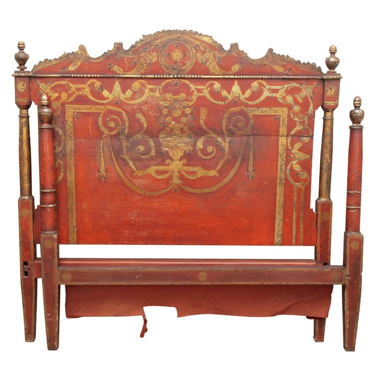 Painted and gilded italian bed at 1stdibs for Italian painted furniture