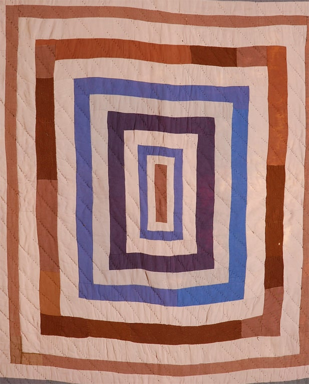 Mid-20th Century African American Concentric Squares Work Clothes Quilt For Sale