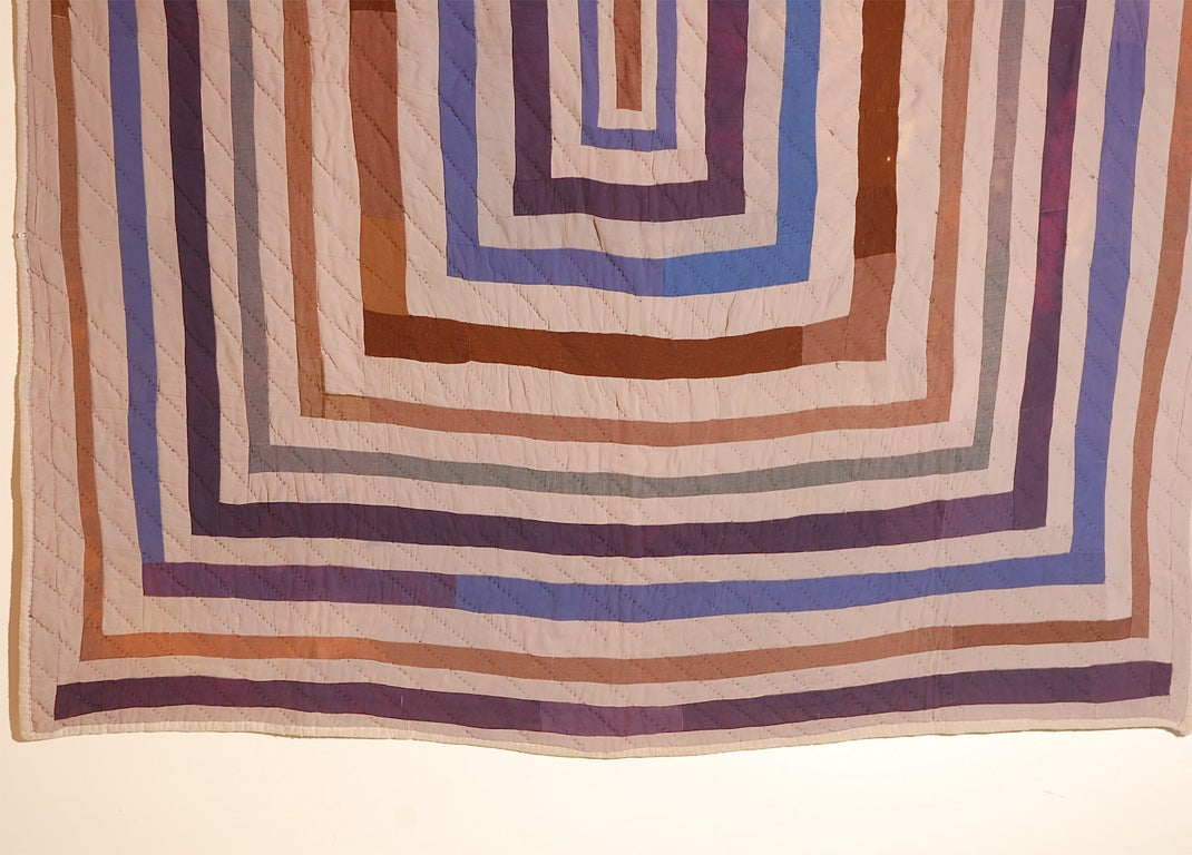 African American Concentric Squares Work Clothes Quilt For Sale 1