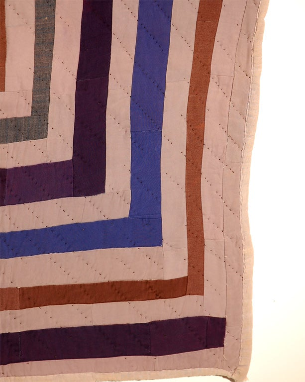 African American Concentric Squares Work Clothes Quilt For Sale 2