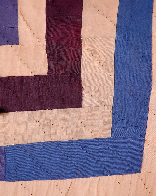 African American Concentric Squares Work Clothes Quilt For Sale 3