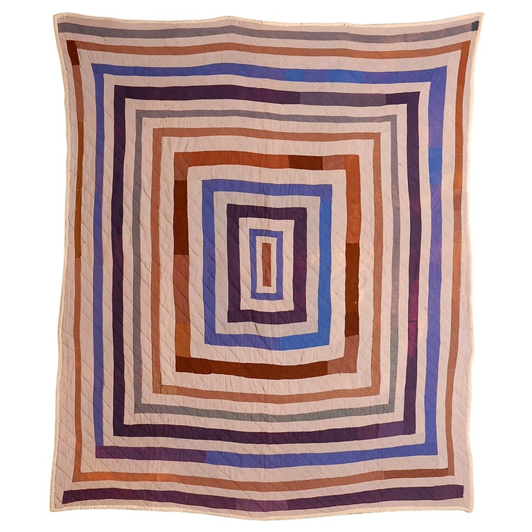 African American Concentric Squares Work Clothes Quilt For Sale