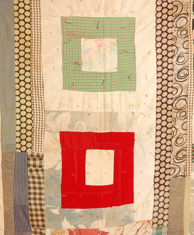Folk Art Gees Bend African American Concentric Squares Quilt For Sale