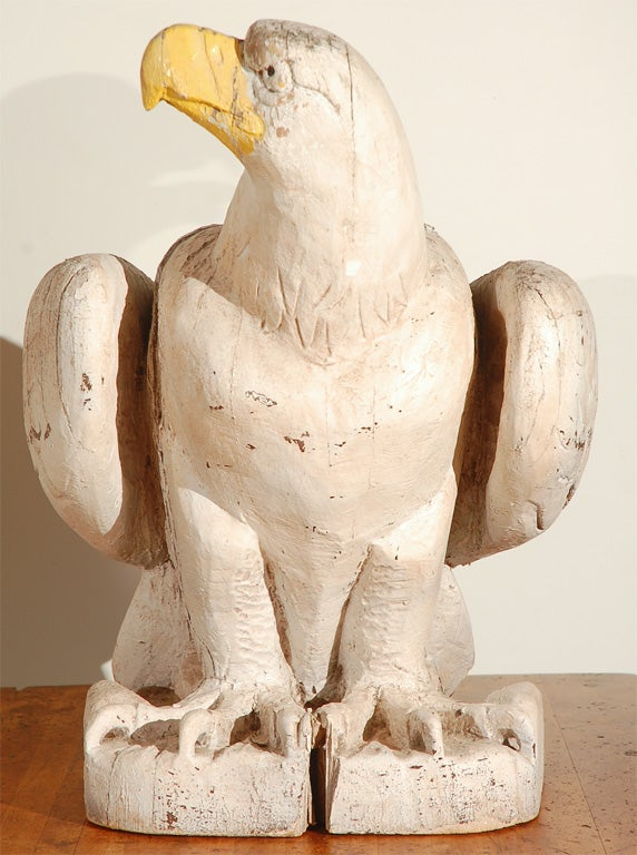 Terrific find! A wonderful pair of carved architectural American eagles. Found on the east coast and were said to have originally been part of a circa 1876 Federal building in St. Louis. There is evidence on the back where they were attached to a