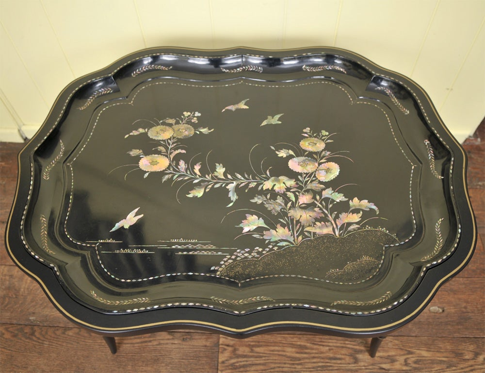 Gilt Papier Mache & Mother of Pearl Tray on Stand For Sale