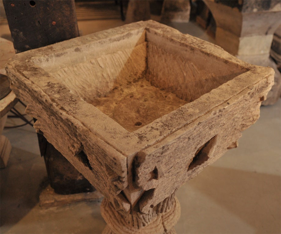 Carved Stone Base : Carved stone tree form planter table base at stdibs