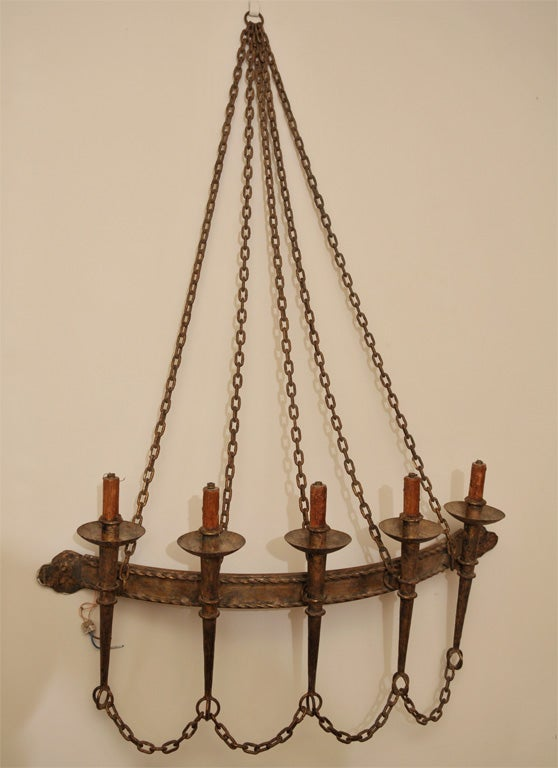 French Iron Wall Sconces : Large GiIded French Wrought Iron Wall Sconce at 1stdibs