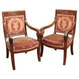 large pair of Empire walnut fauteuils ( second pair available)