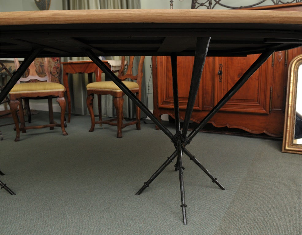 Contemporary Parquet Dining Table With Iron Base For
