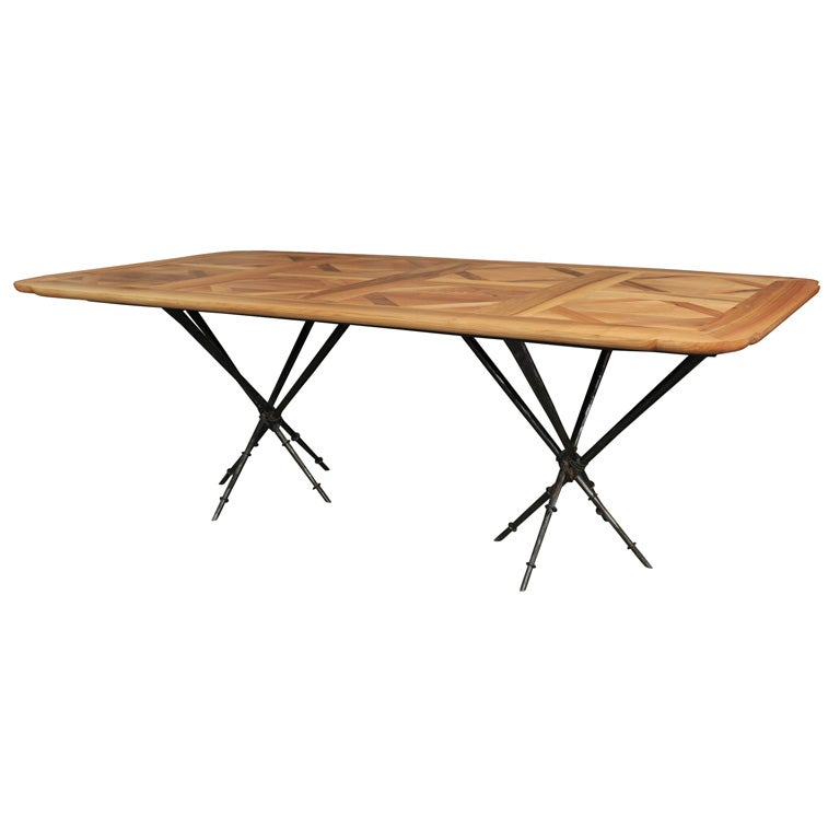 Parquet Dining Table with Iron Base