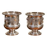 PAIR OF ENGLISH SILVER WINE BUCKETS
