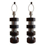 Pair of Round Chrome & Walnut Stacked Lamps