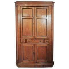 English Elm Corner Cupboard