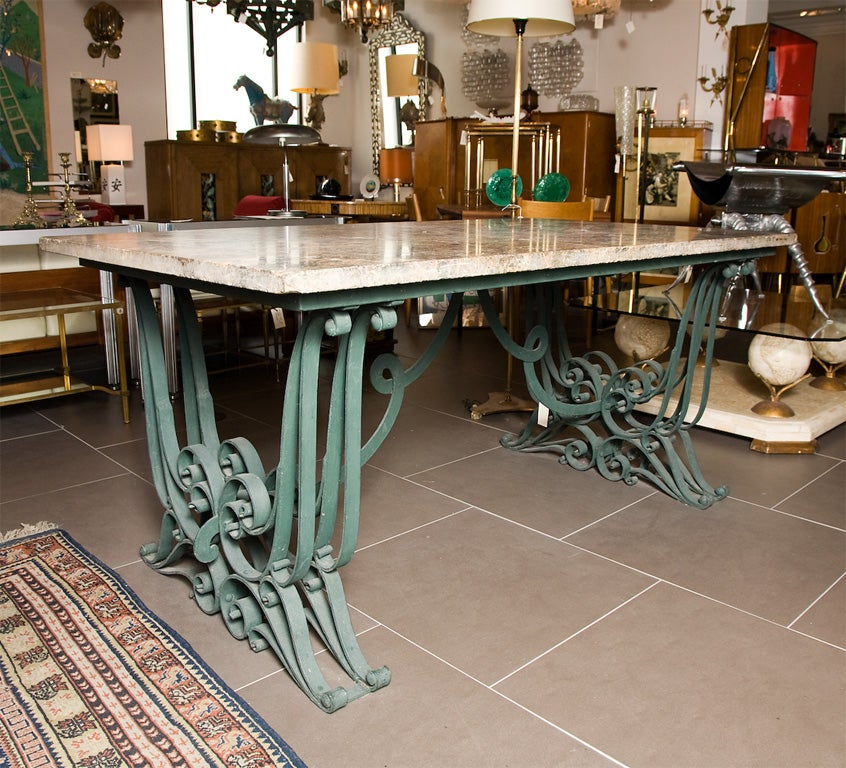 Table With Ornate Wrought Iron Base By Raymond Subes For Sale At 1stdibs