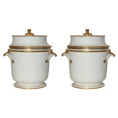 Pair of 18th Century French White and Gilt Antique Porcelain Fruit Coolers